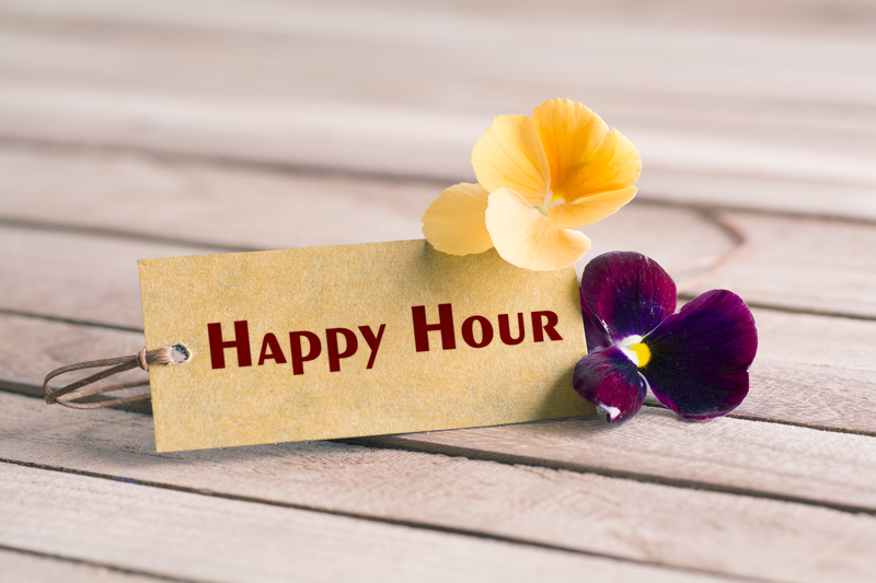 Virtual Get Together represented by a picture of a Happy Hour tag and some pansy flowers